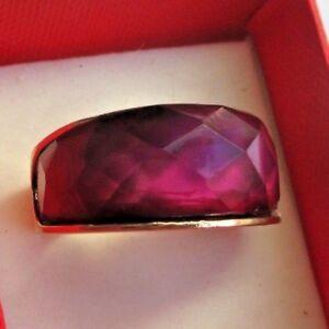 Imposante Bague Bijou Couleur Or Jonc Cabochon Résine Diamant Mauve Taille 56