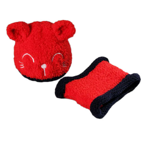 Baby Newborn Winter Warm Cat Hat Scarf Set Beanie Earflap Knit Cap Neck Warmer