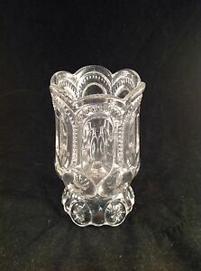 Scalloped-Cut-Glass-Footed-Vase-5-1-2-034-Tall-3-034-Diameter
