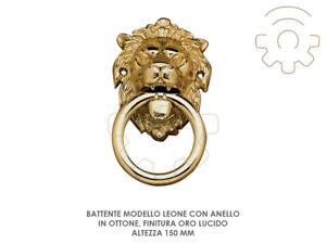 Radient Heurtoir Pour Porte- Mod Lion Avec Bague Laiton Finition Or Brillant H 150 Mm