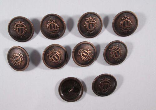 Métal Bouton Boutons 10 pièces bronze blason 23 mm grand #406#