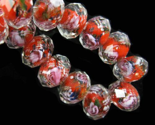 10pcs Washer à Facettes Verre Fleur Rose lampwork loose perles de verre 8 10 12 mm