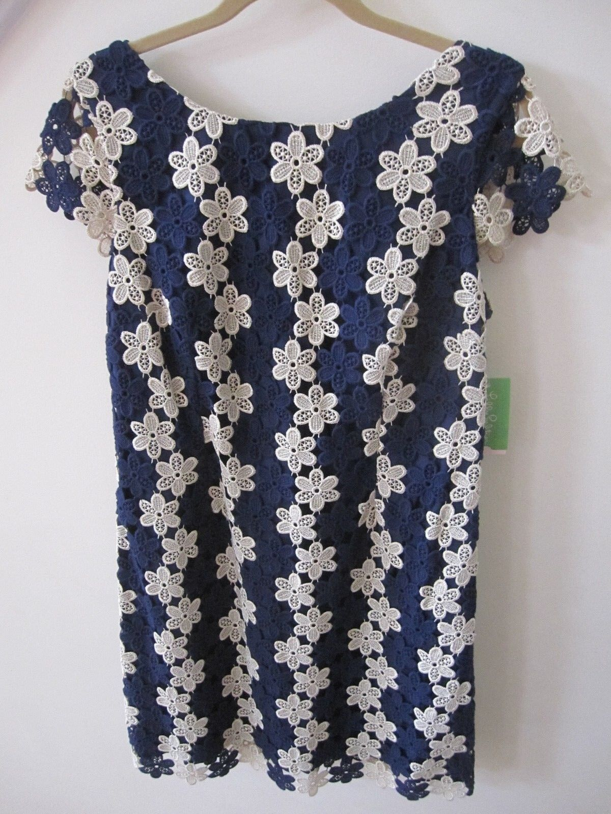 378 NWT 14 Lilly Pulitzer Barbara True Navy Classic Petal Lace Dress NEW XL