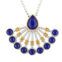Andrea Candela 18k Yellow Gold & Silver Blue Lapis Cable Necklace Acn145-lc