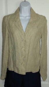 EUC-MERONA-Womens-Size-XS-Linen-Brown-Business-Casual-Tan-Beige-Blazer-Jacket