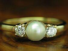 8kt 333 ORO ANELLO con 0,38ct brillante & AKOYA-Guarnizione in perle/diamante/RG 62,5