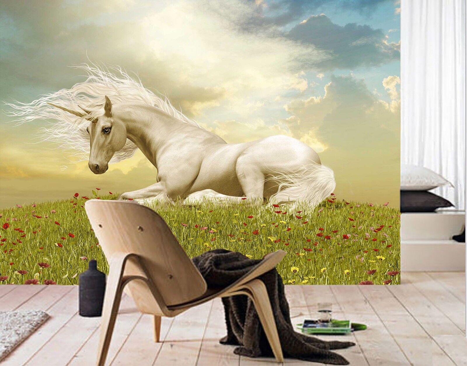 3D Dusk Flower Field Unicorn 23 Wallpaper Mural Wall Print Decal Indoor Mural AU