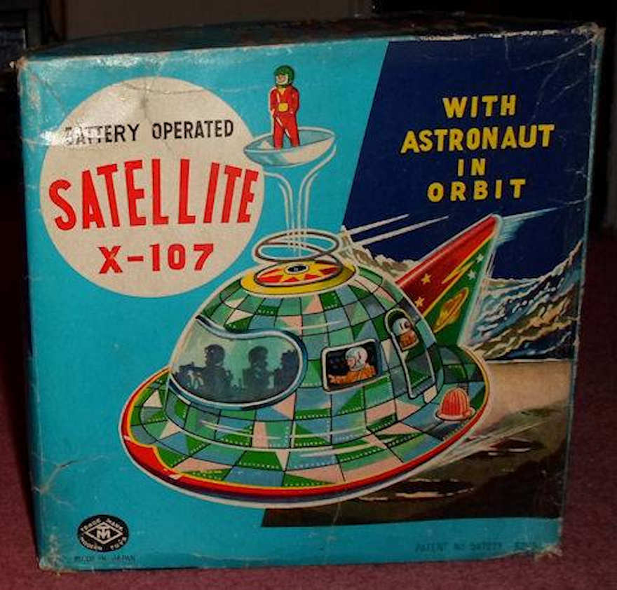 SPACE SHIP SATELLITE Grün X-107 Flying saucer Tin Japan Boxed Vintage Matsudaya