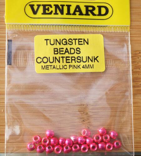 Tungsten Beads 25 Stück Veniard 4 mm metallic pink brilliant!