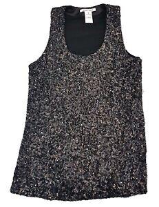 Alice-Olivia-Sequin-Tank-Top-Black-Size-S-Womens-Shirt