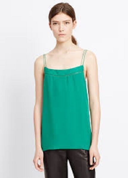 NWT VINCE Ladderstitch Camisole Emerald Large