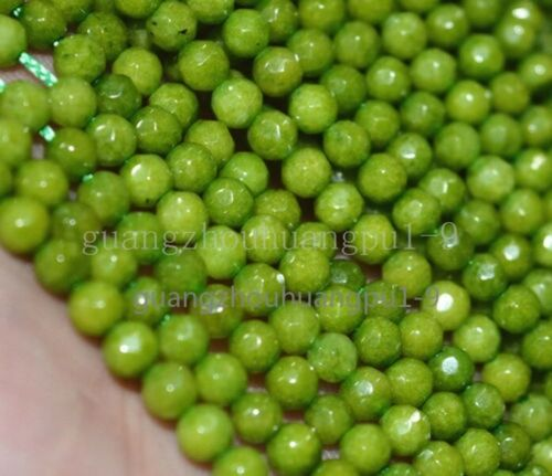 New 4mm Peridot Natural Olive Gemstone Faceted Round Loose Beads 15/'/'