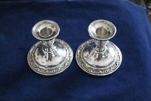 International-Sterling-Silver-Candlestick-Pair-Wild-Rose-N243