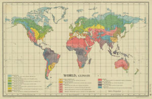 Details about WORLD CLIMATE. maritime continental desert tropical &c.  BARTHOLOMEW 1947 map