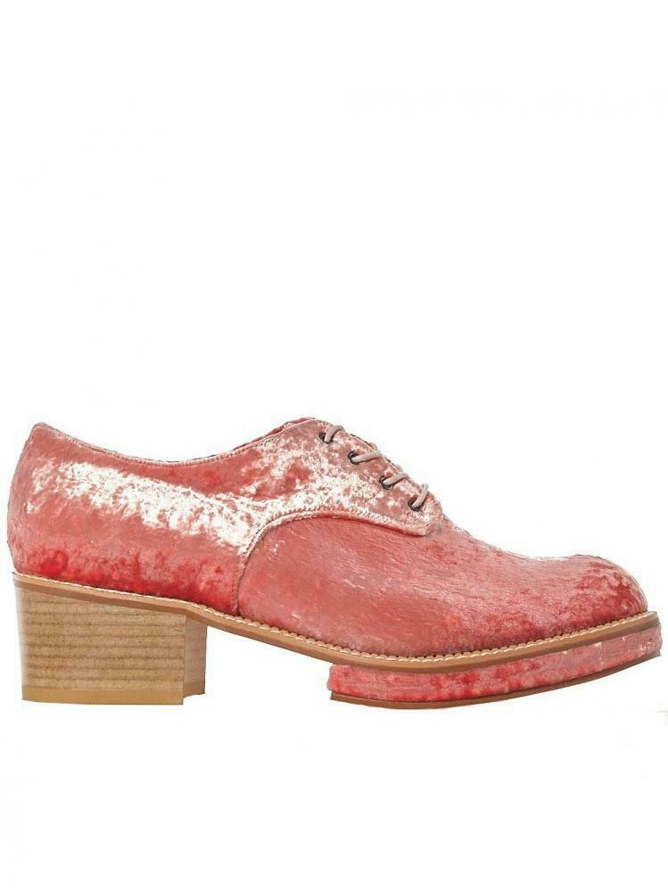H. Lorenzo Flat Apartment Pink Velvet lace up block shoes size 38.5