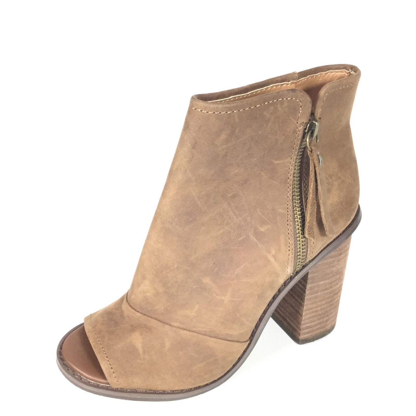 Kelsi Dagger Women's Size 8.5 Brown Leather Open Toe Ankle Boots.