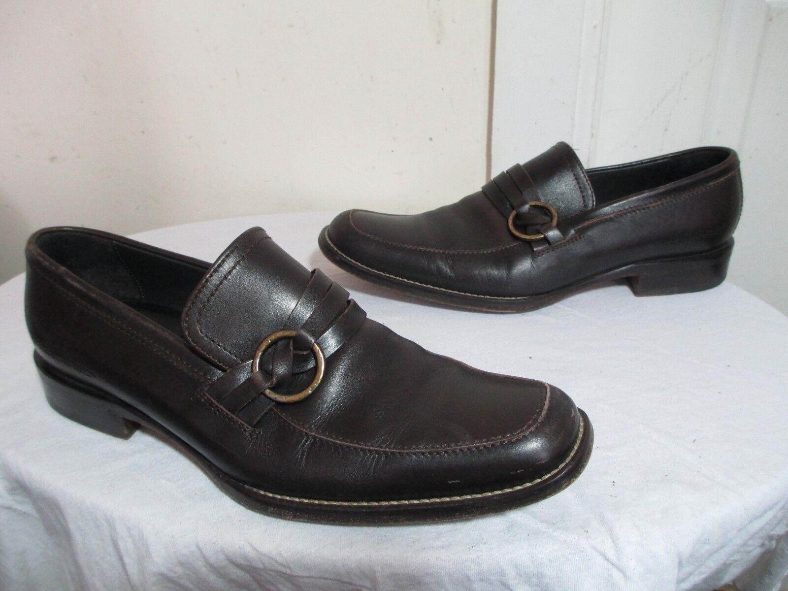 Desquarojo 2 para hombres Cuero Marrón anillada Penny Mocasín Zapatos  2 EE. UU. 8.5  Raro