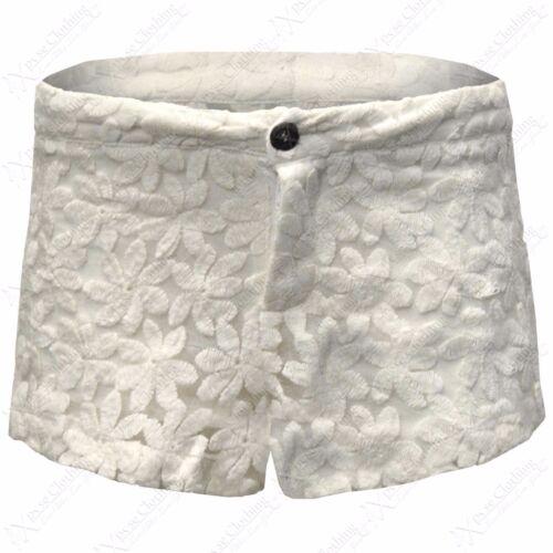NEW WOMENS CROCHET MESH DAISY PRINT SHORTS LADIES LACE HOT PANTS MID WAIST LOOK