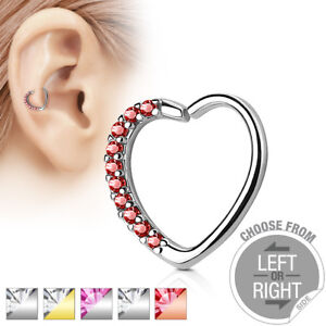 3299441d0 1pc Heart Bendable Ear Hoop Ring Lined CZ Gems Cartilage Daith Helix ...