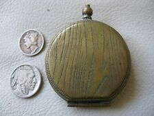 Antique Victorian Gold T G Silver Wood Grain Watch Fob Case Coin Holder Purse