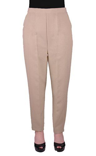 Womens Elasticated Casual Plain Ankle Length Pull On Comfort Trousers Pants