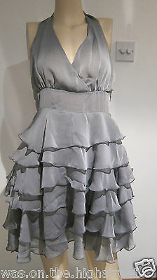 New Ex Highstreet Store Grey Silver Ruffle Layer Halterneck Dress size 8/10