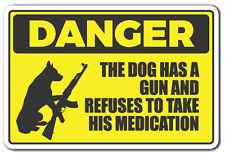 DANGER DOG HAS A GUN Novelty Sign warning animal dog ammo protection gift