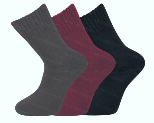 3 Pairs Ladies Plain Merino Lambs Wool 2.4 Tog Socks Womens Walking Work Boots