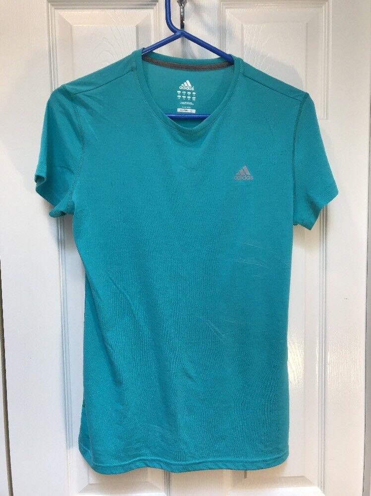 Adidas Climalite Womens Athletic Workout Top Shirt Méret Medium Aqua