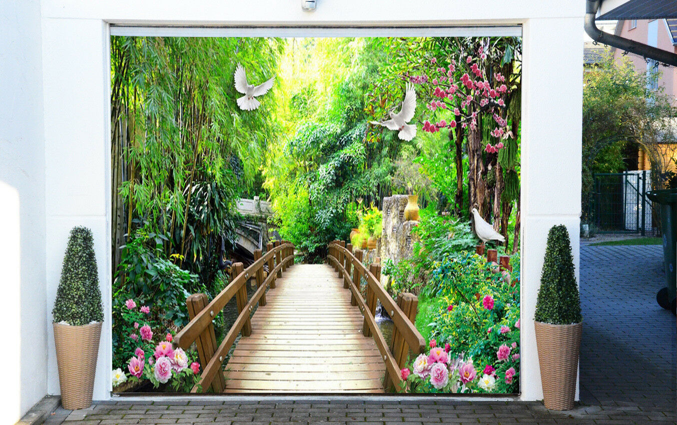 3D Birds Bridge 5 Garage Door Murals Wall Print Decal Wall AJ WALLPAPER AU Lemon