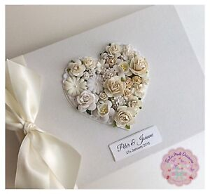 0ce24d908883 Image is loading Vintage-Wedding-Guest-Book -Floral-Personalised-Various-Colours-