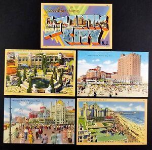 Atlantic-City-New-Jersey-Vintage-1930-1940-Postcards-Lot-of-5-Linen-B