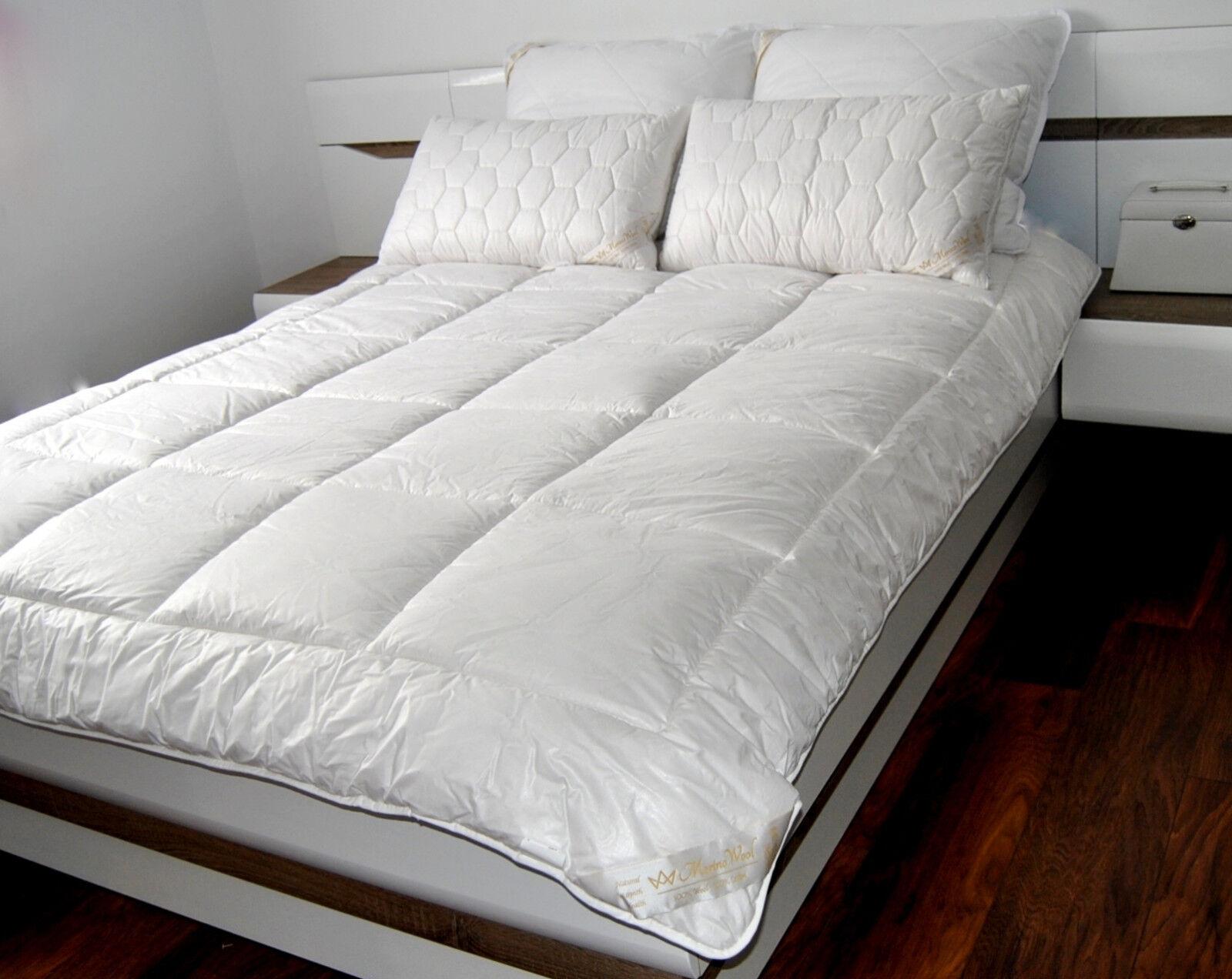 Merino Wool Quilt Cotton medium 10.5tog 500gsm King DUVET 220x230cm + 2 pillow
