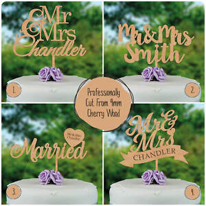 PERSONALISED-Mr-and-Mrs-WOODEN-RUSTIC-Wedding-Cake-Topper-Decoration-Keepsake