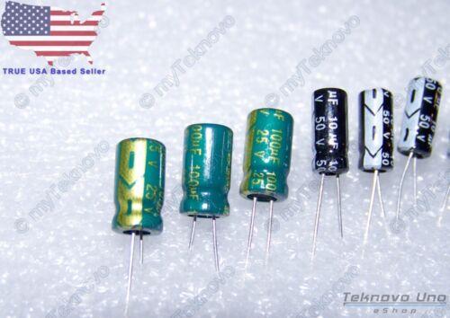 48x Electrolytic Capacitors 100uF 10uF 1uF 0.1uF 12x-Per-Value 105C 25-50V USA