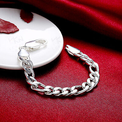 Mens Womens Stainless Silver 3-11mm Figaro Cuban Flat Link Chain Bracelet #B429