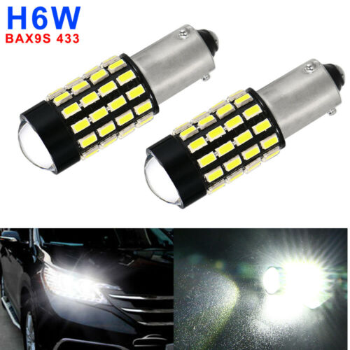 2PCS BAX9S H6W 433 XENON 12V 6500K 54 SMD LED BULBS SIDELIGHTS For VW AUDI BMW