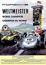 VINTAGE 1960's PORSCHE WELTMEISTER WORLD CHAMPION A3 POSTER PRINT