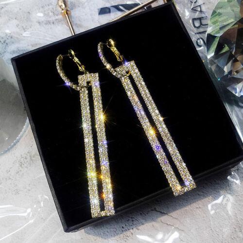 Women Elegant Shiny Rhinestone Rectangular Earrings Wild Long Ear Dangle ONE