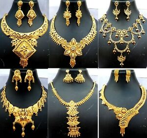 Indian-22K-Gold-Plated-Wedding-Necklace-Earrings-Jewelry-Variations-tikka-9-039-039-set