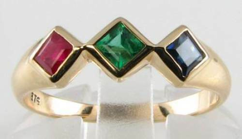 DIVINE 9K 9CT gold ART DECO INS RUBY EMERALD SAPPHIRE TRILOGY RING