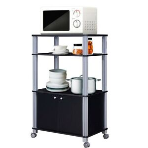 Image Is Loading Bakers Rack Microwave Stand Rolling Kitchen Storage Cart