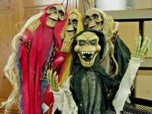 Hanging-Animated-Halloween-Ghouls-39-3-8-034-set-of-4-styles-NEW-OLD-STOCK-Sale