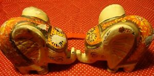 Vintage-Set-2-Pottery-Patchwork-Multi-Colored-ELEPHANT-Figurines-333