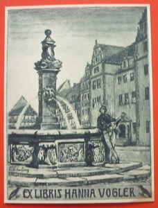 Exlibris-Bookplate-034-Hanna-Vogler-034-Jugendstil-Stadt-Brunnen