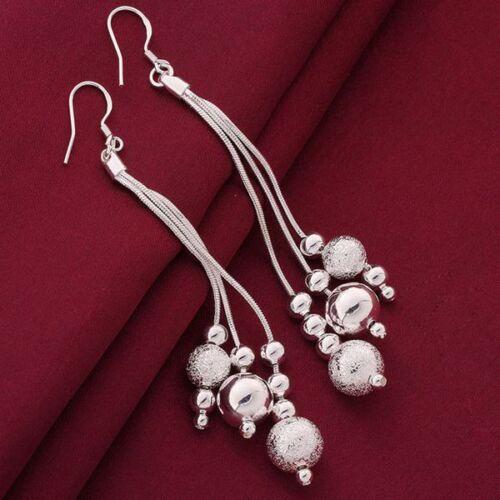 Schöne hochwertige lange Ohrringe Silber mit versilberte Kugel