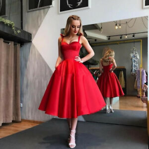 Red Short Satin Evening Cocktail Dress