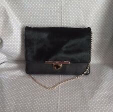 DKNY Handbag Black Leather and Calf Hair Gold Tone Chain Purse