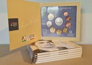 Coffret BU Euros 2021 Italie 9 pièces 1 centimes à 2 Euros + 5€ Argent