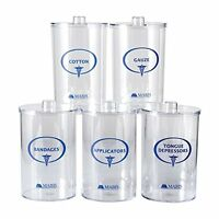 Mabis Stor-a-lot Sundry Apothecary Jars With Imprints, Plastic, Clear, Set Of 5, on sale